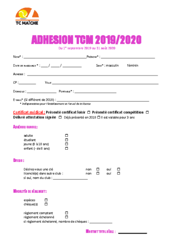 Fiche adhésion club 2019-20