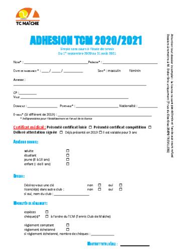 Fiche adhésion club 2020-2021